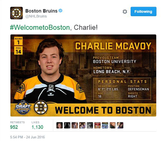 2016-NHL-Draft-Upper-Deck-First-Niagra-Buffalo-Social-Surprise-Lori-Boston-Bruins-Charlie-McAvoy-Tweet
