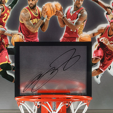lebron-james-autographed-deja-vu-acrylic-backboard-cleveland-authentic-signature-fans-enlarge