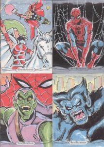 2016-marvel-masterpieces-sketch-card-mitch-ballard-thor-sif-spider-man-green-goblin-beast