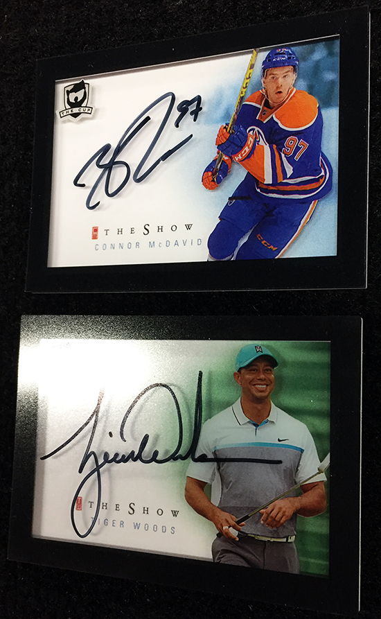 new-2015-16-nhl-the-cup-the-show-autograph-trading-card-connor-mcdavid-tiger-woods