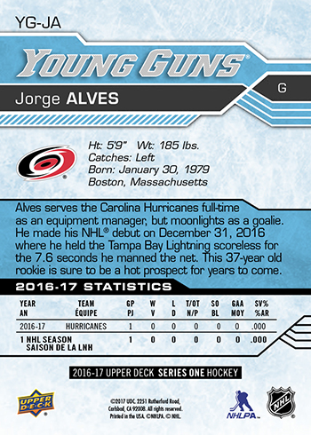 2016-17-NHL-Upper-Deck-Young-Guns-Jorge-Alves-Rookie-Card