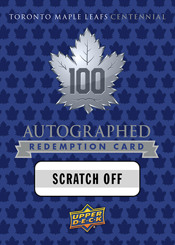 2017-Upper-Deck-Toronto-Maple-Leafs-Centennial-Set-Autograph-Redemption-Card-Retail