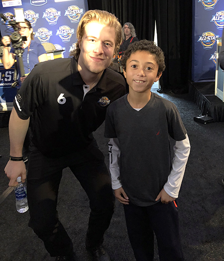 2018-upper-deck-nhl-all-star-media-day-kid-correspondent-interview-reporter-brock-boeser-jaxson-shandler