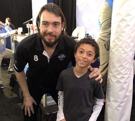 2018-upper-deck-nhl-all-star-media-day-kid-correspondent-interview-reporter-drew-doughty-jaxson-shandler