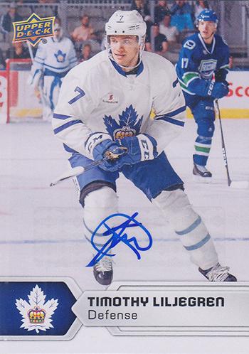 2017-18-Upper-Deck-AHL-Hockey-Trading-Cards-XRC-Autograph-Timothy-Liljegren-Toronto-Marlies
