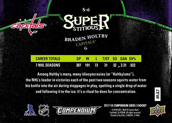 2017-18-Upper-Deck-Compendium-Superstitious-Stuperstition-S6-Braden-Holtby-Back