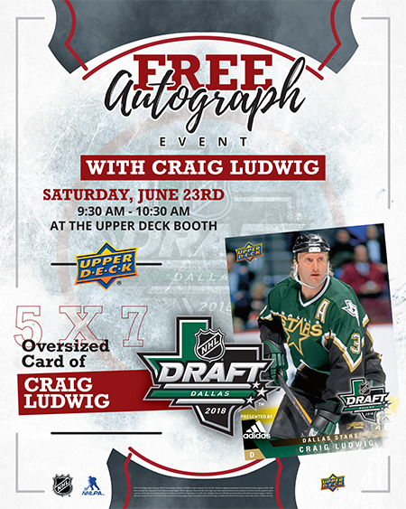 2018-upper-deck-dallas-stars-craig-ludwig-autograph-signing-draft-saturday