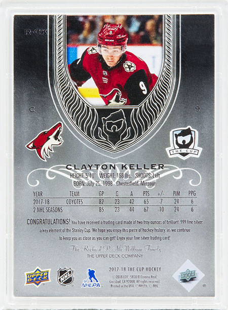 2017-18-nhl-the-cup-fine-silver-upper-deck-rookie-card-clayton-keller-back