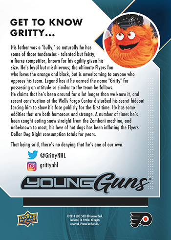 2017-18-NHL-Upper-Deck-Young-Guns-Rookie-Card-Philadelphia-Flyers-Mascot-Gritty-Back