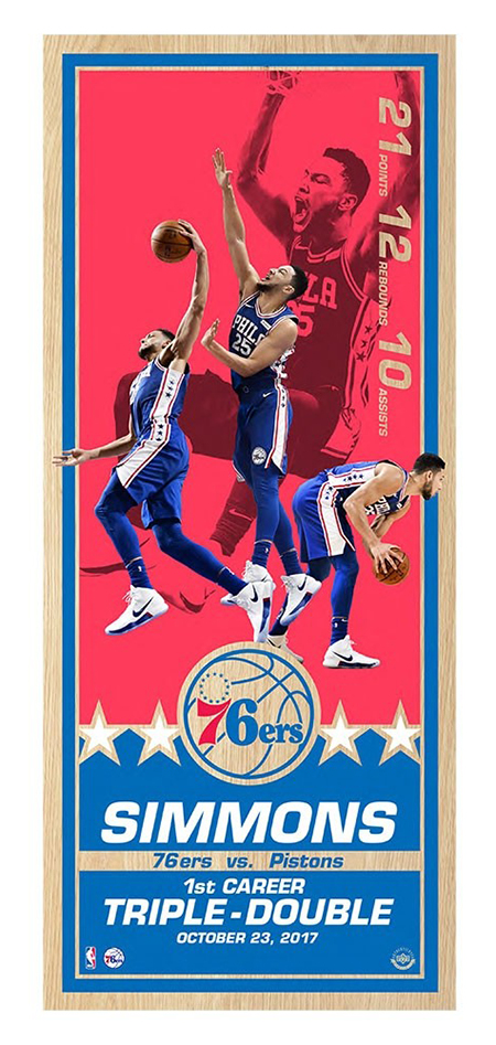 upper-deck-authenticated-edmonton-oilers-collectible-ben-simmons-philadelphia-76ers-triple-double-maple-wood-print-unsigned-81516